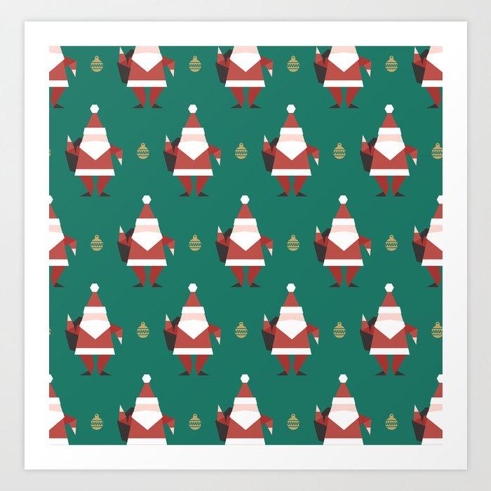 Origami Santa (Patterns Please) Art Print