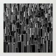 Tall city B&W inverted / Lineart city pattern Canvas Print