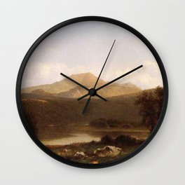 View Of Mt Lafayette New Hampshire 1867 By David Johnson | Reproduction | Romanticism Landscape Pain Wall Clock