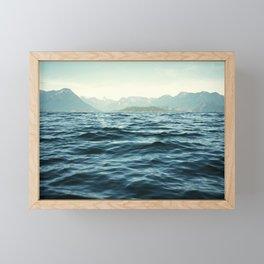 Ocean Waves.Mountains.Canada.Desolation Sound.Water Texture.35mm film. Framed Mini Art Print