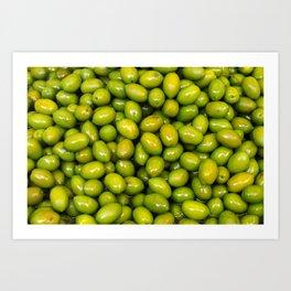 Food. Green tasty olives Art Print