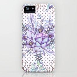 Modern lilac violet lavender polka dots watercolor floral iPhone Case