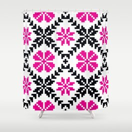 Ethnic Folk Eastern European Embroidery with Pink Flowers Shower Curtain