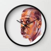 jay z Wall Clocks featuring JAY-Z by nachodraws