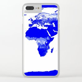 World map Blue & White Clear iPhone Case
