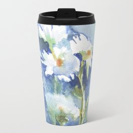 watercolor white daisies on a blue and green background, beautiful bouquet Travel Mug