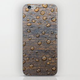 Water Drops on Wood 6 iPhone Skin