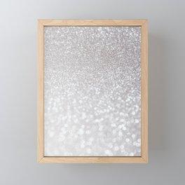Silver ice - glitter effect- Luxury design Framed Mini Art Print