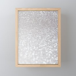 Silver ice - glitter effect- Luxury design Framed Mini Art Print