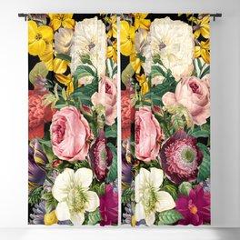 Flowers on Black Blackout Curtain