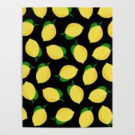 lemons in black Poster