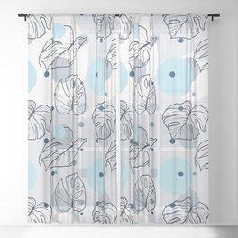 Monstera (Bubbles) - Blue Sheer Curtain