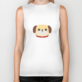 Cute puppy Dog with red collar Biker Tank