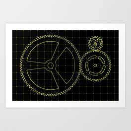 Set of yellow gears and cogs on virtual screen Art Print