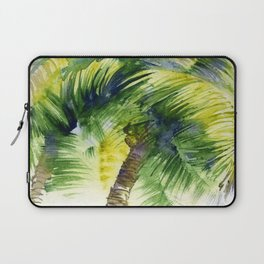 Watercolor painting with tropical palm trees, painted in India   Laptop Sleeve