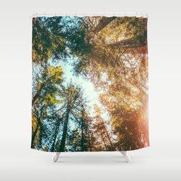 California Redwoods Sun-rays and Sky Shower Curtain
