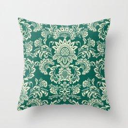 Damask vintage in green Throw Pillow