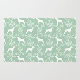 Doberman Pinscher floral silhouette mint and white minimal basic dog breed pattern art Rug