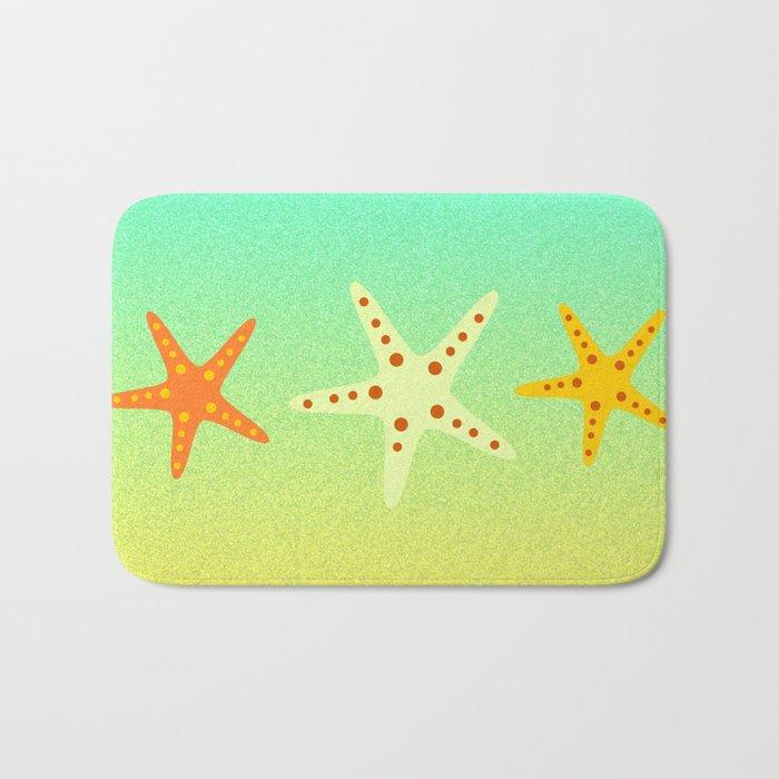 Sand, ocean and sea stars Bath Mat