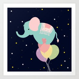 Elephant and Balloons At night , nursery decor , Art Print
