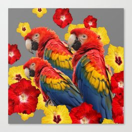 TROPICAL FLORAL MACAWS & RED YELLOW HIBISCUS FLOWERS Canvas Print