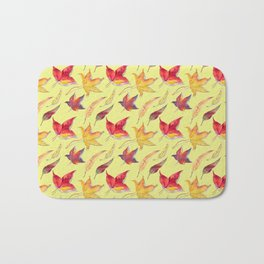 Autumn leaves pattern (yellow background) Bath Mat