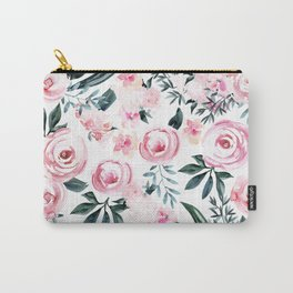 Floral Rose Watercolor Flower Pattern Carry-All Pouch