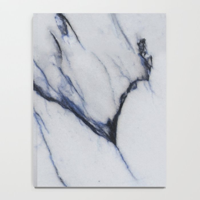White Marble with Black and Blue Veins Notebook