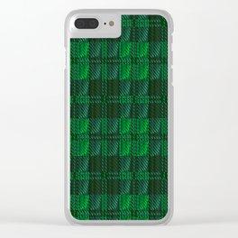 Dark Green Tartan Clear iPhone Case
