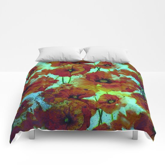 marsala floral Comforters
