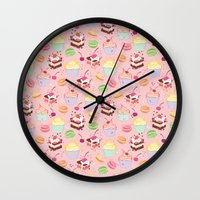 macaroon Wall Clocks featuring sweet pattern aka cake , cupcake and macaroon by Marta Olga Klara