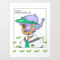 crocodile Art Prints featuring Crocodile by Natali Koromoto