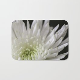 white and green chrysanthemum Bath Mat