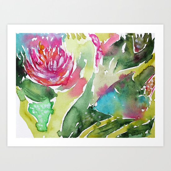 Floral abstraction    watercolor Art Print