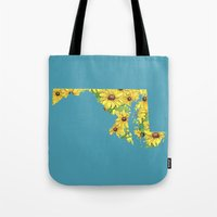 maryland Tote Bags featuring Maryland in Flowers by Ursula Rodgers