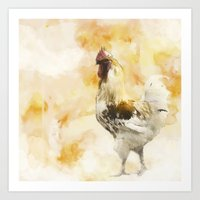 rooster Art Prints featuring Rooster by ChiaraLily