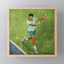 Roger Federer Tennis Backhand Framed Mini Art Print