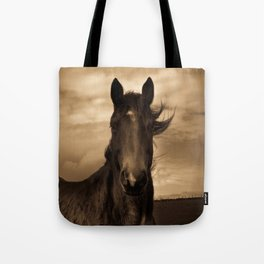 English horse in sepia tones Tote Bag