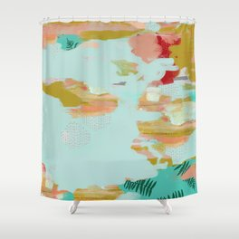 Seafoam Fern Collage Shower Curtain