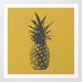 Pineapple - Gray on Gold Art Print