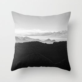 Mountains in the morning mist Throw Pillow