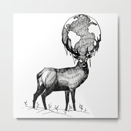 Deer God (Stag & Earth Illustration) - Black and white edition Metal Print