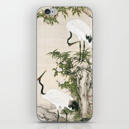 Cranes, Peach Tree, and Chinese Roses iPhone Skin