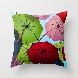 Colorful umbrellas. Throw Pillow