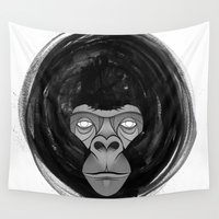 gorilla Wall Tapestries featuring Gorilla  by dchristo