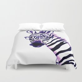 Zebra with glasses, purple Duvet Cover