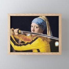 "Vermeer's ""Girl with a Pearl Earring"" & Kill Bill Framed Mini Art Print"
