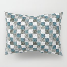 Rustic Gray Turquoise Green Beige Patchwork Pillow Sham