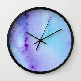 Abstract Watercolor Art Blue And Purple Modern Painting Wall Clock