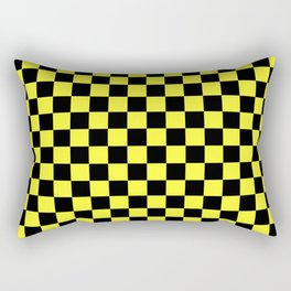 Black and Electric Yellow Checkerboard Rectangular Pillow